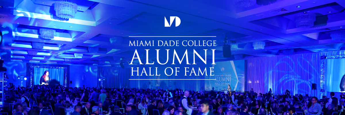 Alumni Hall of Fame logo and photo of event