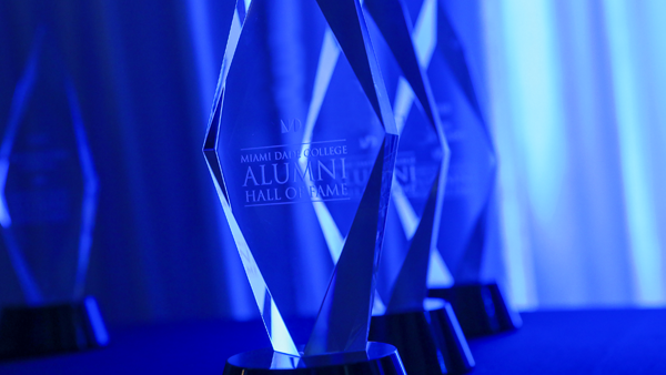 Alumni Hall of Fame award trophies close-up