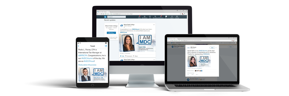 I AM MDC ad samples on desktop and mobile devices