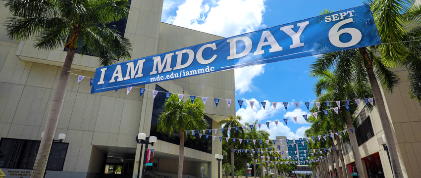 I AM MDC Day banner at Wolfson Campus