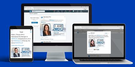 Sample I AM MDC Alumni Campaign on desktop and mobile