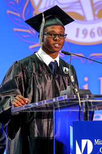 Keionest Felder at MDC podium for graduation