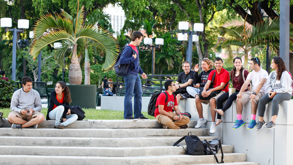 Group of MDC students sitting by Wolfson Campus