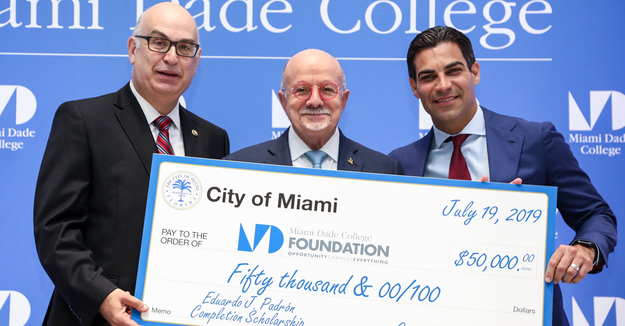 City Manager Dr. Emilio T. Gonzalez, Dr. Eduardo J. Padrón and  City of Miami Mayor Francis Suarez