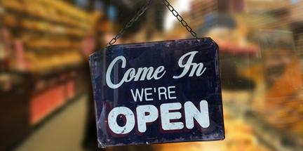 Come In We're Open (door sign)