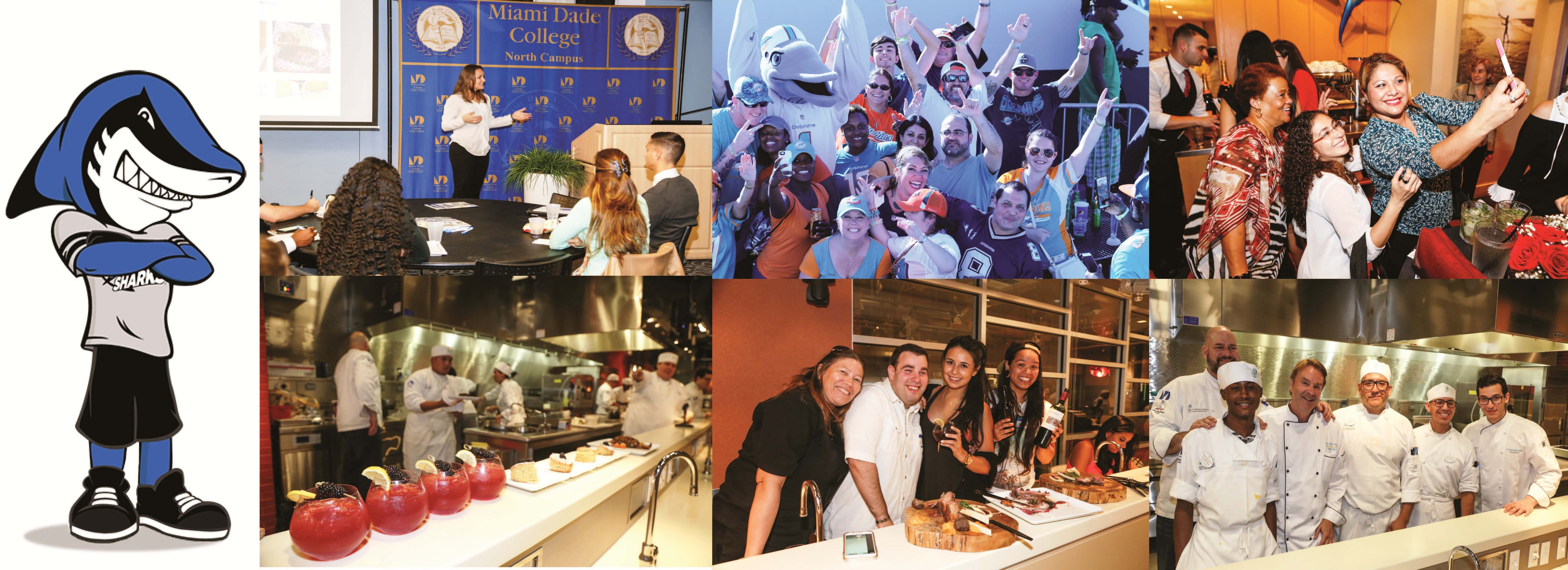MDC Finn and photo collage of various Alumni events