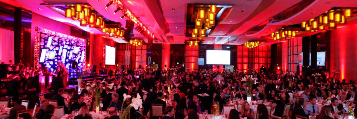 Panoramic photograph of an event gala