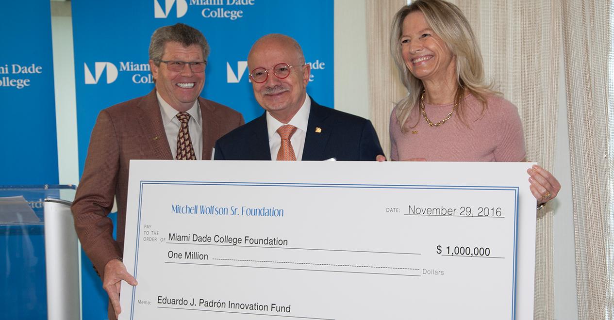 $1 million  gift from Mitchell Wolfson Sr. Foudnation
